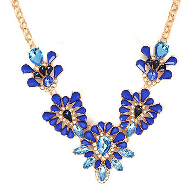 Energie Blue Hollow Out Gemstone V Shape Design Alloy Bib Necklaces