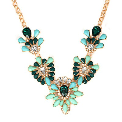 Reversible Green Hollow Out Gemstone V Shape Design Alloy Bib Necklaces
