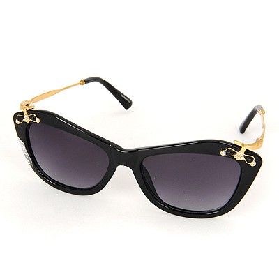 Unusual Black Inlaid Drill Bowknot Decorated Resin Women Sunglasses