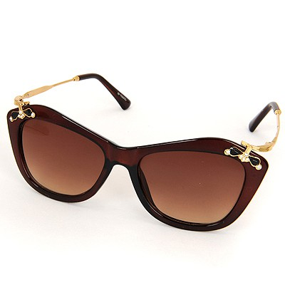 Peridot Tan Inlaid Drill Bowknot Decorated Resin Women Sunglasses