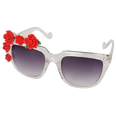 Free Gray Five Rose Flowers Decorated Resin Women Sunglasses