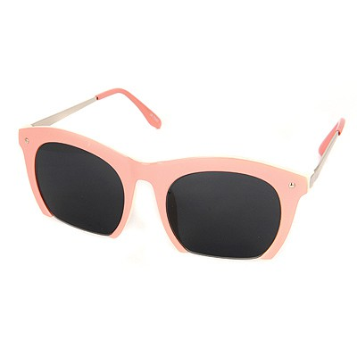 Korean Pink Half Frame Simple Design Resin Women Sunglasses