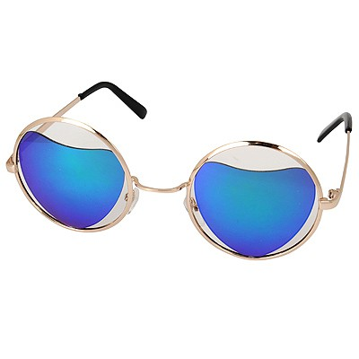 Simple Blue Round Shape Frame Heart Shape Lense Alloy Women Sunglasses