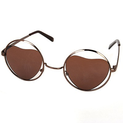 Modest Brown Round Shape Frame Heart Shape Lense Alloy Women Sunglasses