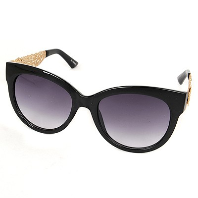 Plaid Black Hollow Out Flower Frame Legs Alloy Women Sunglasses