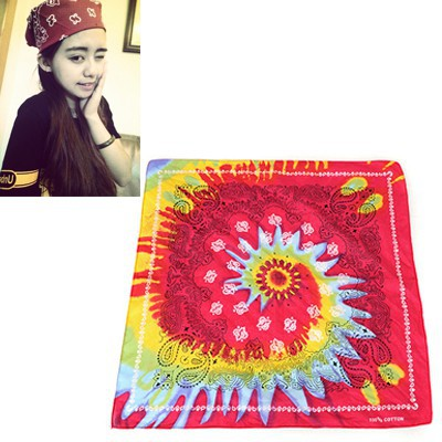Colorful Plum Red Sunflower Pattern Design Cotton Cloth Hair band hair hoop