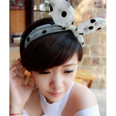 Cubic White Dot Pattern Rabbit Ear Transparent Design Yarn Hair band hair hoop