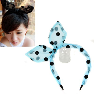 Fine Blue Dot Pattern Rabbit Ear Transparent Design Yarn Hair band hair hoop