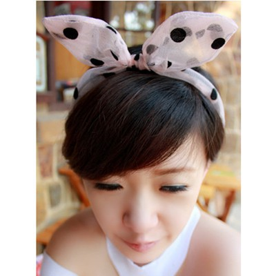 Fancy Pink Dot Pattern Rabbit Ear Transparent Design Yarn Hair band hair hoop