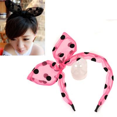 Flirty Plum Red Dot Pattern Rabbit Ear Transparent Design Yarn Hair band hair hoop
