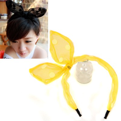 Woolrich Yellow Dot Pattern Rabbit Ear Transparent Design Yarn Hair band hair hoop