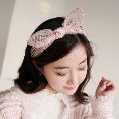 Packaging Pink Transparent Grids Lovely Rabbit Ear Yarn Hair band hair hoop