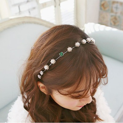 Street Silver Color Pearl Diamond Decorated Alloy Hair band hair hoop