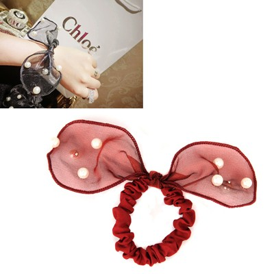 Lovable Claret-Red Pearls Decorated Lovely Rabbit Ear Yarn Hair band hair hoop