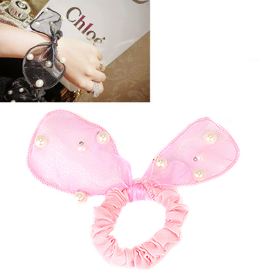 Christenin Pink Pearls Decorated Lovely Rabbit Ear Yarn Hair band hair hoop