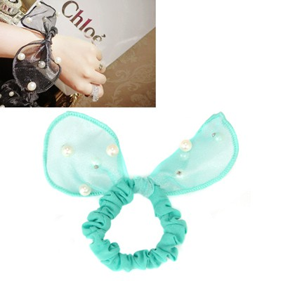 Roll Green Pearls Decorated Lovely Rabbit Ear Yarn Hair band hair hoop