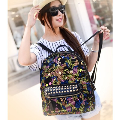 Luxury Black Camouflage Pattern Rivet Design PU Leather Backpack