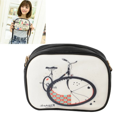 Standard Picture Color Big Bicycle Pattern Design PU Leather Messenger bags