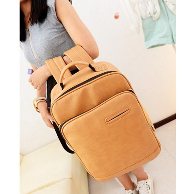 Charming Khaki Pure Color Casual Design PU Leather Backpack