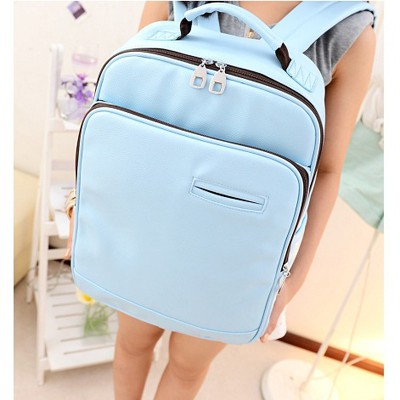 Extreme Sky Blue Pure Color Casual Design PU Leather Backpack