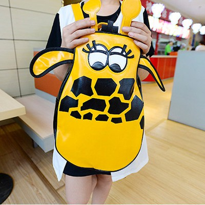Plussize Black Cartoon Deer Shape Design PU Leather Backpack