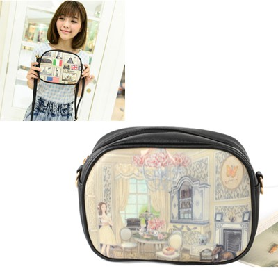Cranes Picture Color Luxury Girl's Room Pattern PU Leather Messenger bags