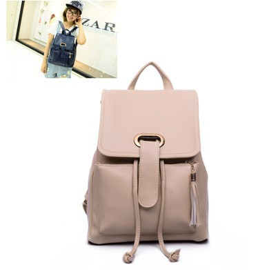 Oversized khaki candy color tassel decorated simple design pu Backpack