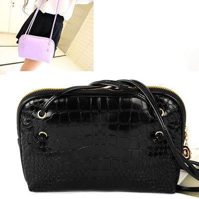 Jogging black Crocodile Grain Simple Design pu Messenger bags