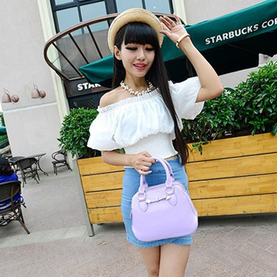 Graduated purple bowknot decorated simple design pu Messenger bags