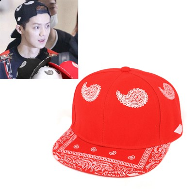 Elastic Red Cashew Nut Pattern Design Canvas Baseball Caps