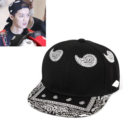 Printed Black Cashew Nut Pattern Design Canvas Baseball Caps