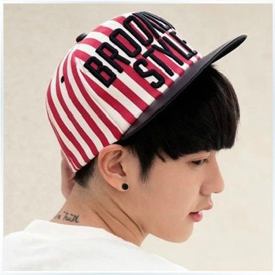 Headrest Red Embroidery BROOKLYN Style Stripe Pattern Design Canvas Baseball Caps
