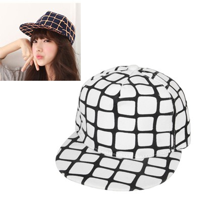 Electronic White Square Grid Pattern Design Canvas Baseball Caps