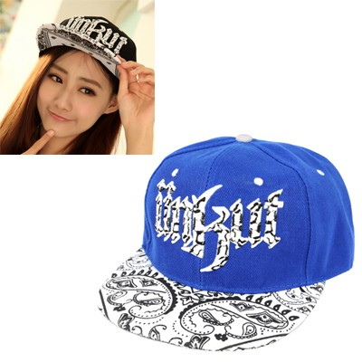Plaid Blue Embroidery Iillkllt Graffiti Brim Design