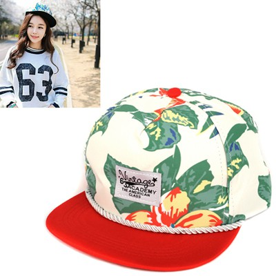 Skeleton Red Rope Decorated Flower Pattern Design Canvas Baseball Caps