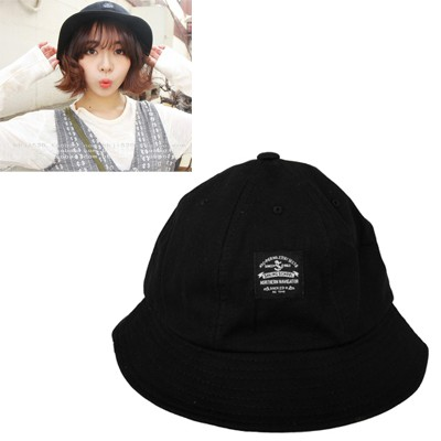 Vellum Black Round Shape Simple Design Canvas Sun Hats