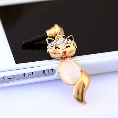 Old white diamond decorated fox design alloy Mobile phone products