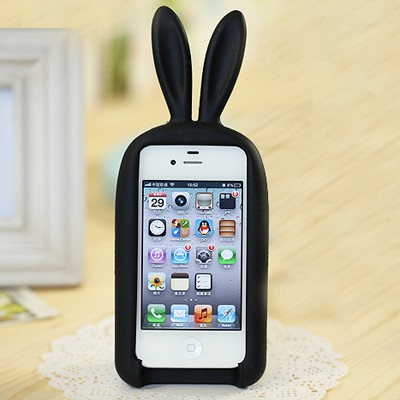 Sling black rabbit shape simple design(for 5/5s) silicone Iphone 5 5s