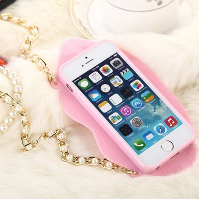 Rasta light pink lip shape with pearl chain(for 5/5s) silicone Iphone 5 5s