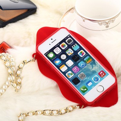 Puppy red lip shape with pearl chain(for 5/5s) silicone Iphone 5 5s