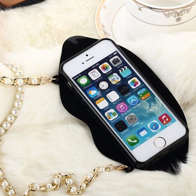 Uniqe black lip shape with pearl chain(for 5/5s) silicone Iphone 5 5s