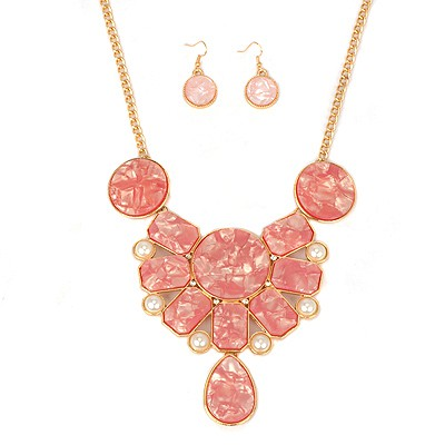 Famale plum red pearl decorated geometrical shape alloy Jewelry Sets