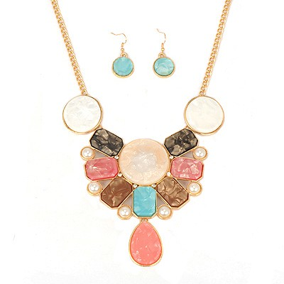 Graduation multicolor pearl decorated geometrical shape alloy Jewelry Sets