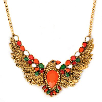 2011 orange red eagle pendant design alloy Bib Necklaces