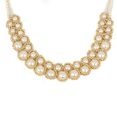 18K white pearl weave double-layer design alloy Beaded Necklaces
