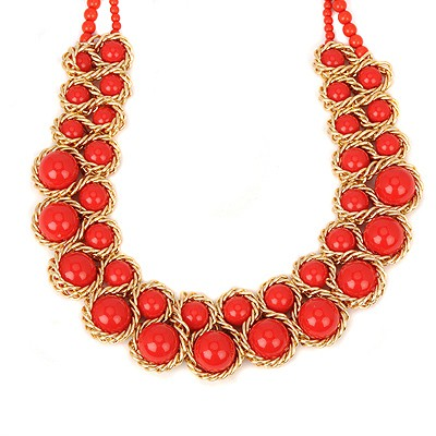 Initial red pearl weave double-layer design alloy Beaded Necklaces