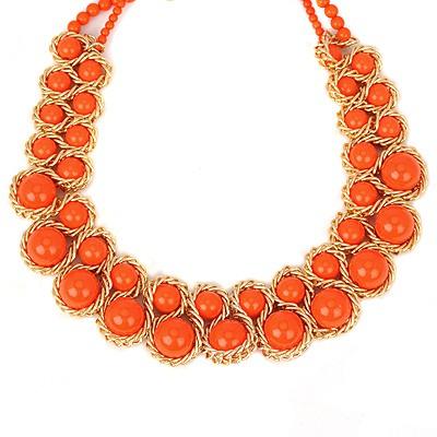 Splendid orange red pearl weave double-layer design alloy Beaded Necklaces