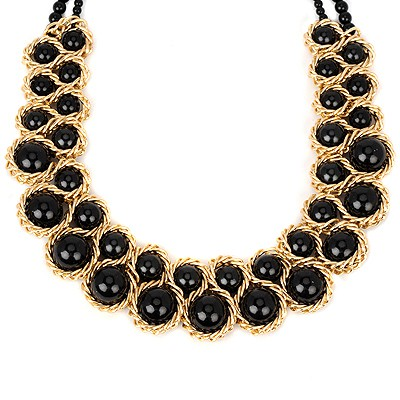 Petite black pearl weave double-layer design alloy Beaded Necklaces