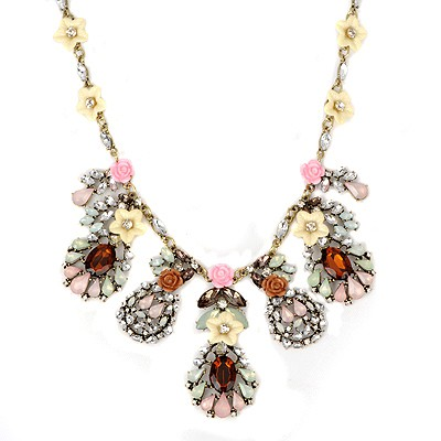 Bespoke multicolor flower decorated desing alloy Bib Necklaces
