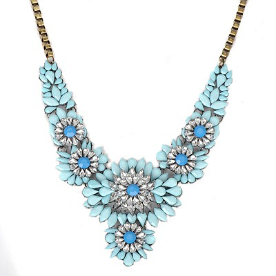 Claddagh sky blue acrylic stone decorated flower design alloy Bib Necklaces